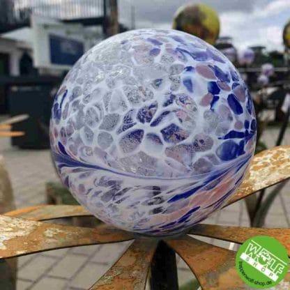 Metallblumen Glaskugel bleu-weiß