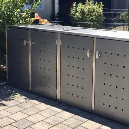 Mülltonnenbox Anthrazit mit Edelstahlpfosten