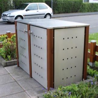 Mülltonnenbox Edelstahl mit Bangkiraipfosten