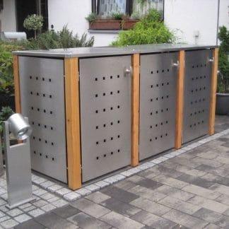 Mülltonnenbox Edelstahl mit Lärchepfosten