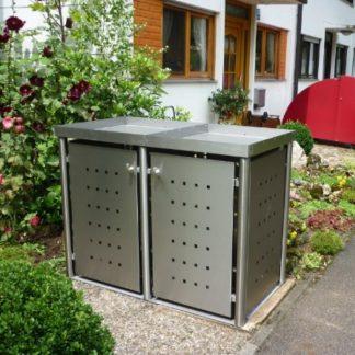 Mülltonnenbox Edelstahl mit Rundpfosten