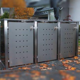 Mülltonnenbox Edelstahl mit Vierkantpfosten
