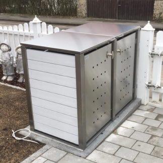 Mülltonnenbox Kunststoff mit Edelstahlpfosten
