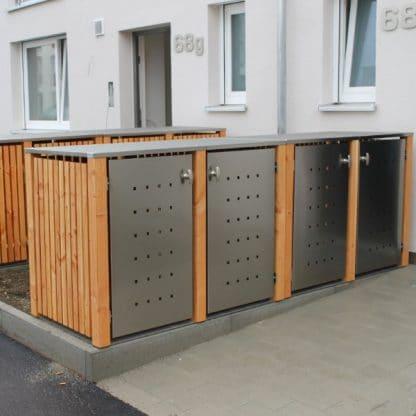Mülltonnenbox Lärche mit Türen aus Edelstahl