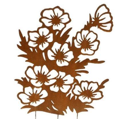 Gartenstecker Edelrost Blumen