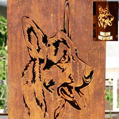 Rostsäule mit Schäferhund
