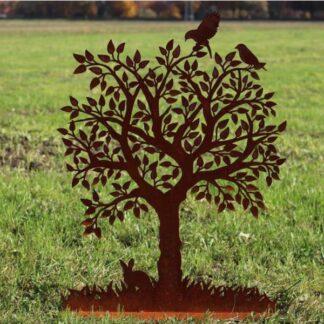 Metalldeko Baum mit Voegel und Hase