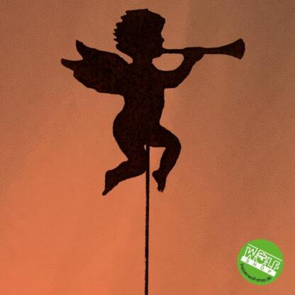 Metalldeko Engel mit Trompete