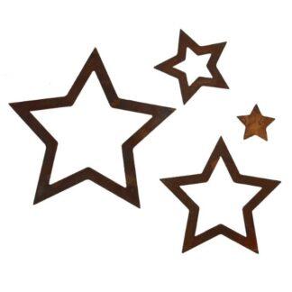 Set vier Sterne Edelrost